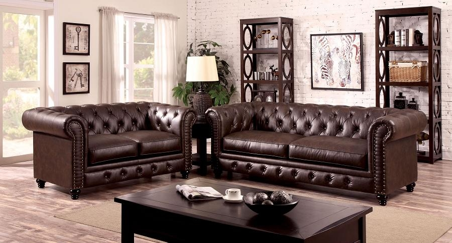 Chesterfield Inspired Rolled Arms Brown Leatherette Button Tufted With Brown Tufted Sofas (View 9 of 20)
