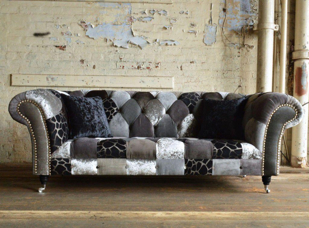 Chesterfield Sofa / Fabric / 3 Seater / On Casters – Grey Animal With Regard To Casters Sofas (Image 8 of 20)