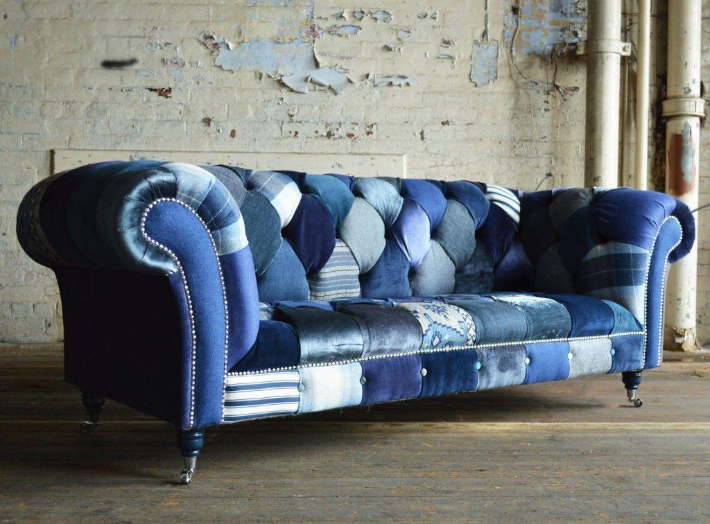 Chesterfield Sofa / Fabric / 3 Seater / On Casters – Navy – Abode Pertaining To Casters Sofas (Image 9 of 20)