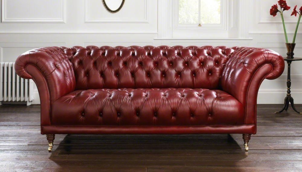 Chesterfield Sofa / Leather / 2 Seater / Red – Goodwood For Red Leather Chesterfield Chairs (View 13 of 20)