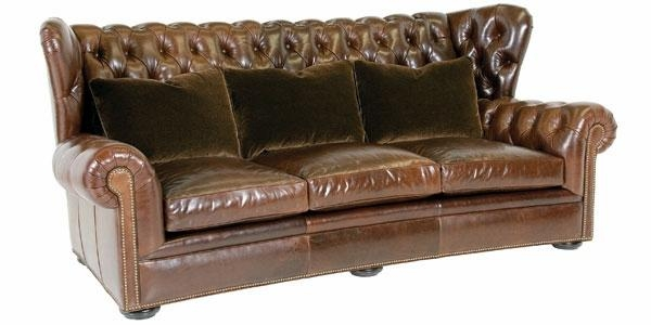 Chesterfield Wingback Leather Button Tufted Sofa – Clubfurniture In Brown Leather Tufted Sofas (Image 5 of 20)