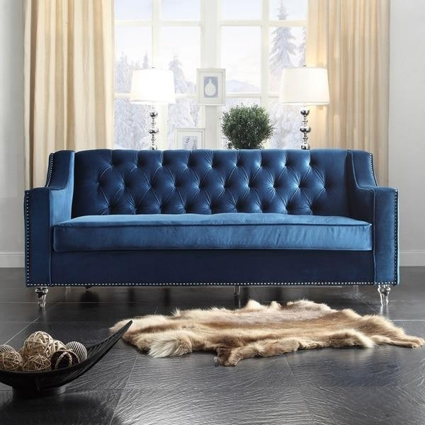 Chic Home Dylan Velvet Button Tufted With Silver Nailhead Trim With Regard To Silver Tufted Sofas (View 16 of 20)