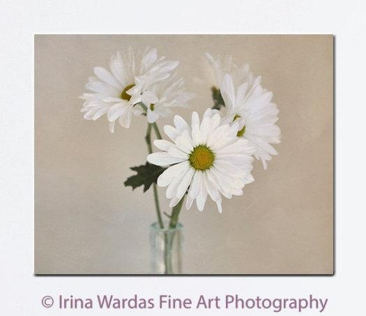 Chic Wall Decor | White Tan Beige Large Wall Art | Floral Canvas Print Throughout Shabby Chic Canvas Wall Art (View 13 of 20)