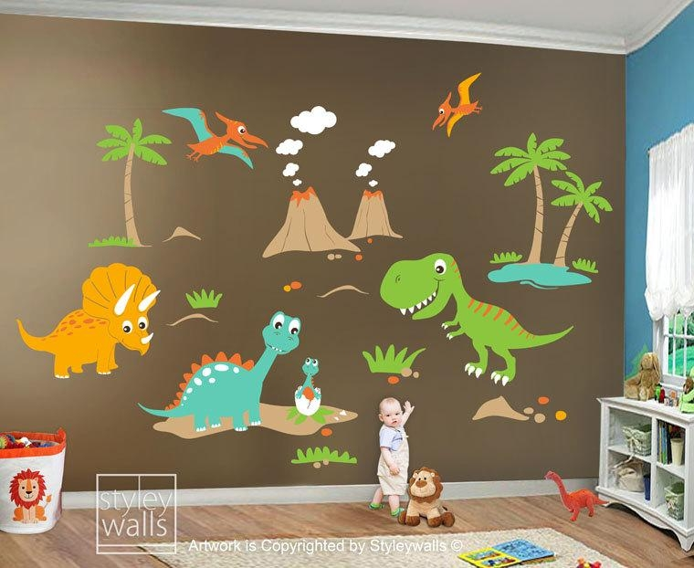 Children Wall Decals Dino Land Dinosaurs Wall Decal Wall With Dinosaur Wall Art For Kids (Photo 3 of 20)