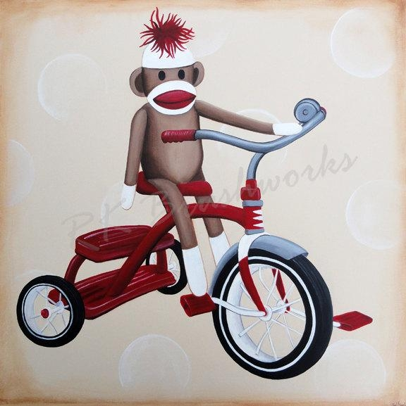 Childrens Wall Art Nursery Art For Baby Nursery Decor Kids Throughout Sock Monkey Wall Art (Image 11 of 20)