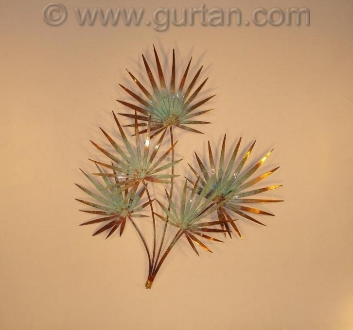 Chinese Palm Copper – Wall Art – Metal Sculpture – Metal Decor In Copper Outdoor Wall Art (Image 7 of 20)