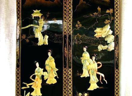 Chinese Silk Panel Screen Asian Silk Screen Panels Oriental Pertaining To Japanese Wall Art Panels (View 20 of 20)