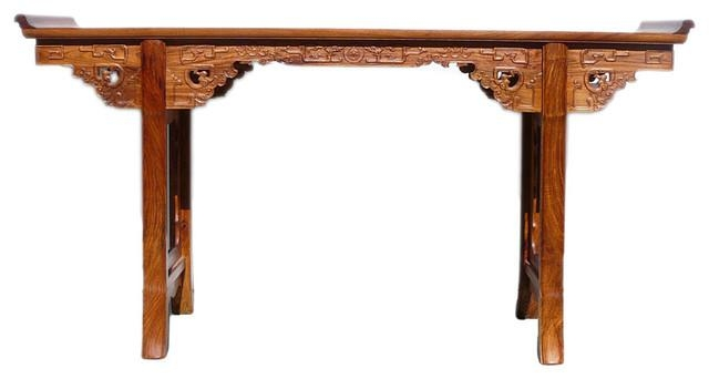Chinese Yellow Rosewood Ru Yi Dragon Long Altar Console Table In Asian Sofa Tables (Image 11 of 20)