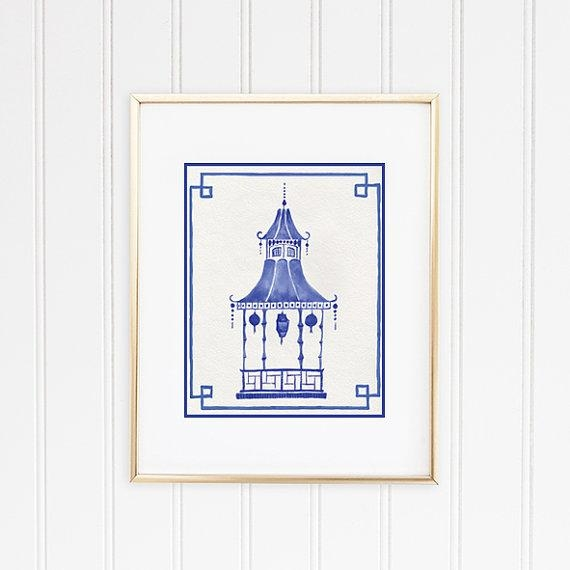 Chinoiserie Wall Art Pagoda Print Hollywood Regency Decor With Chinoiserie Wall Art (Image 11 of 20)