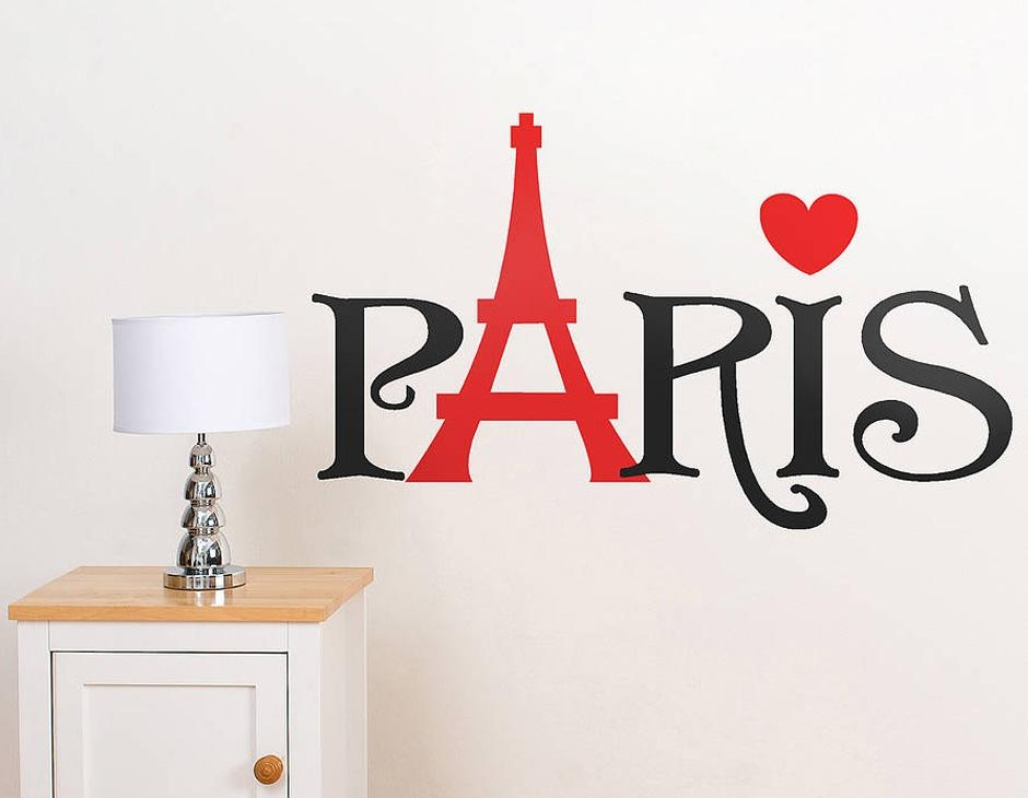 Christmas Bedroom Decorations, Paris Word Wall Sticker Paris Vinyl In Paris Vinyl Wall Art (Image 7 of 20)