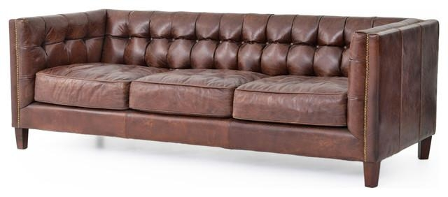 Christopher Rustic Lodge Tufted Straight Back Brown Leather Sofa Within Brown Leather Tufted Sofas (Image 7 of 20)
