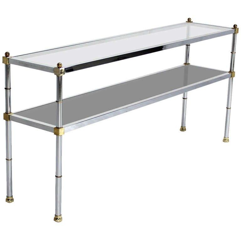 Chrome Brass And Glass, Two Tier Console Or Sofa Table, Mid Intended For Chrome Sofa Tables (Image 3 of 20)