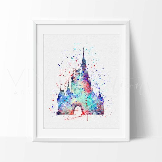 Cinderella Castle Print Disney Princess Baby Girl Nursery Art For Disney Princess Framed Wall Art (Image 12 of 20)
