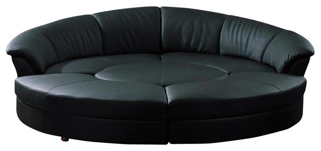 Circle Black Bonded Leather Circular Five Piece Sectional Sofa With Semi Circular Sectional Sofas (Image 8 of 20)