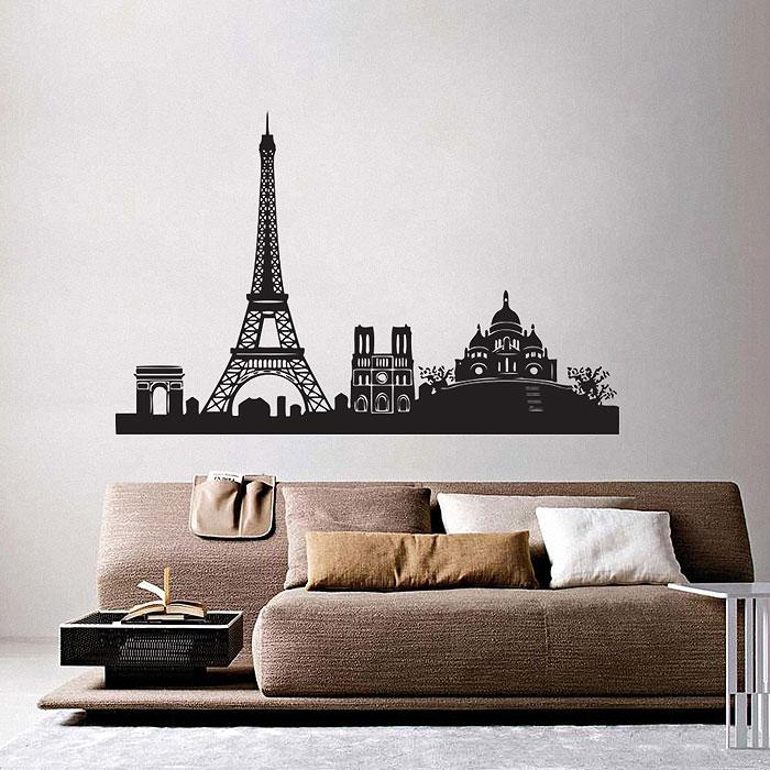 City Skyline Vinyl Wall Art Decal For Paris Vinyl Wall Art (Image 8 of 20)