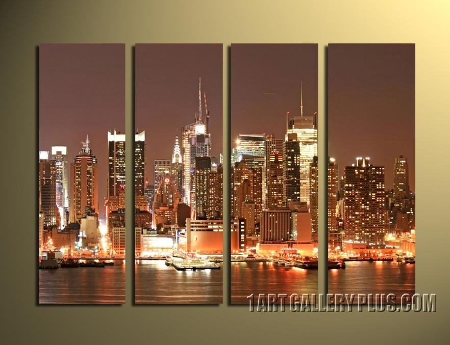Cityscape Art,nyc Paintings : Cityscape Paintings : Photos Throughout Cityscape Canvas Wall Art (Image 8 of 20)