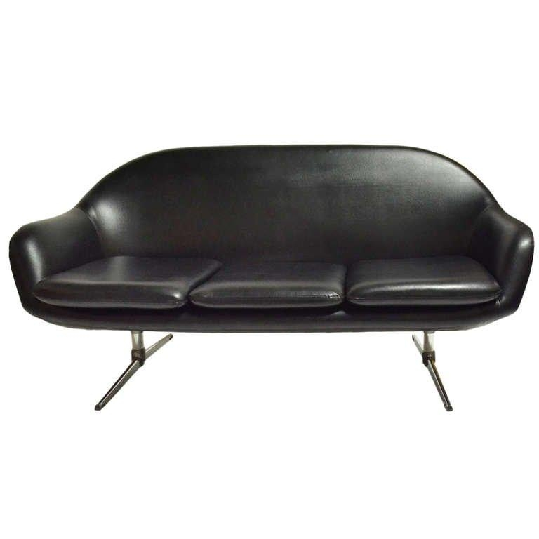 Classic Overman Black Vinyl Mod Sofa At 1Stdibs For Black Vinyl Sofas (Image 6 of 20)
