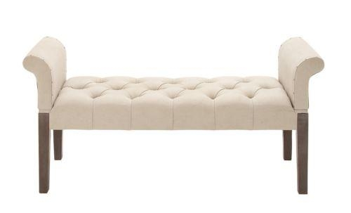 Classic Scroll Arm Wood Beige Fabric Accent Bedroom Sofa Bench With Bedroom Bench Sofas (Image 11 of 20)