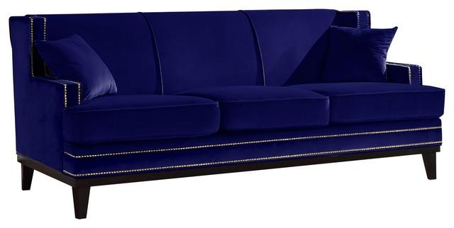 Classic Velvet Sofa Nailhead Trim Accent Living Room – Sofas – Throughout Blue Sofas (Image 13 of 20)