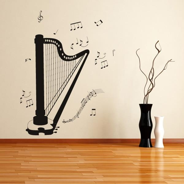 Classical Harp & Notes Musical Notes & Instruments Wall Sticker Intended For Musical Instrument Wall Art (View 15 of 20)