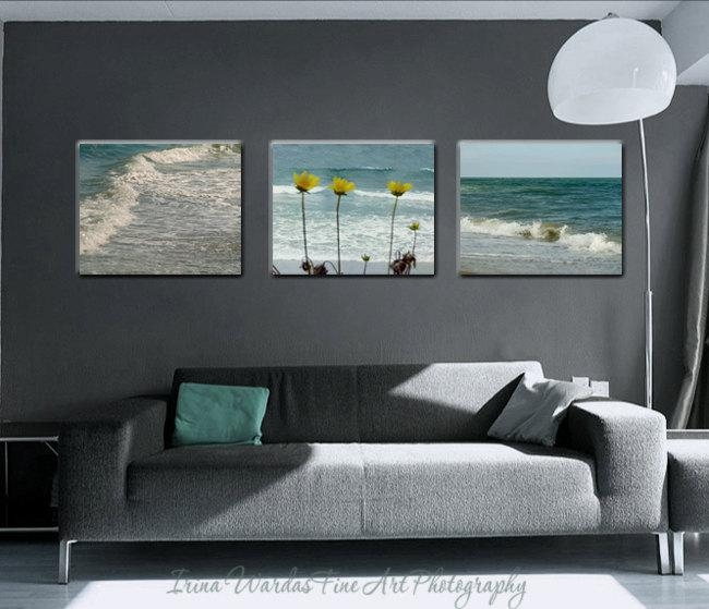 Coastal Beach Wall Art Set Of 3 Canvas Wraps | Teal Living Room Decor Intended For Wall Art Sets For Living Room (Photo 5 of 20)