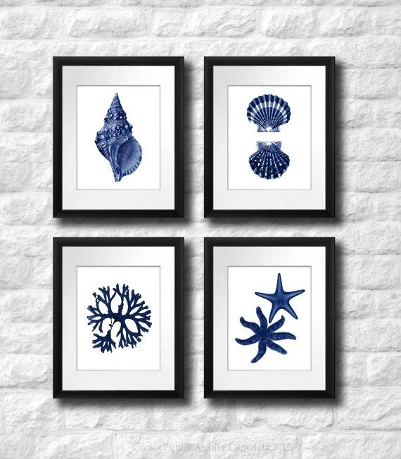 Coastal Wall Decor Navy Blue Wall Art Set Of 4 Beach Decor Within Navy Blue Wall Art (Image 10 of 20)