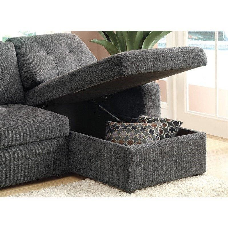 Coaster Chenille Sleeper Sofa With Storage In Charcoal And Black Pertaining To Chenille Sleeper Sofas (Image 8 of 20)