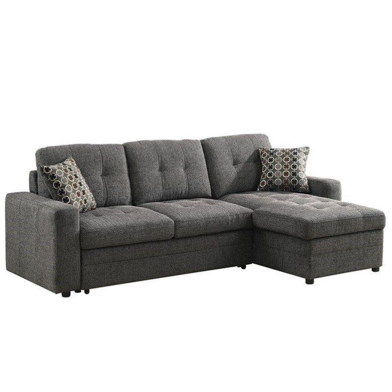 Coaster Chenille Sleeper Sofa With Storage In Charcoal And Black Regarding Chenille Sleeper Sofas (Image 9 of 20)