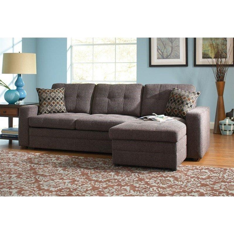Coaster Chenille Sleeper Sofa With Storage In Charcoal And Black With Chenille Sleeper Sofas (Image 10 of 20)
