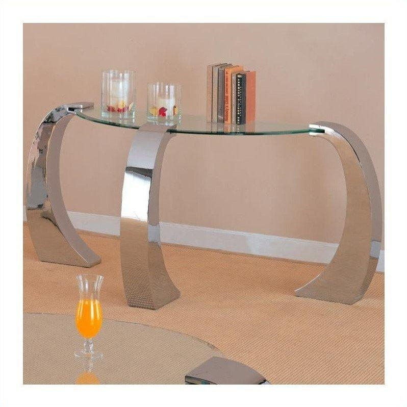 Coaster Custer Chrome Sofa Table With Metal Base And Curved Glass Intended For Chrome Sofa Tables (Image 5 of 20)