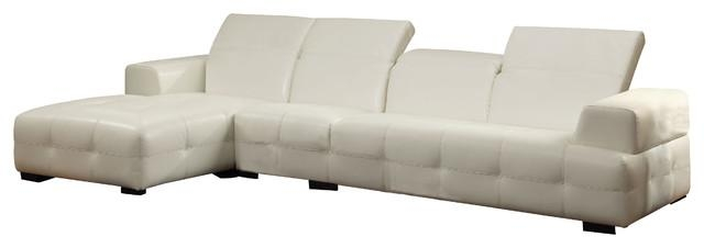 Coaster Darby Bonded Leather Sectional Sofa, White – Contemporary Within Coaster Sectional Sofas (View 13 of 20)