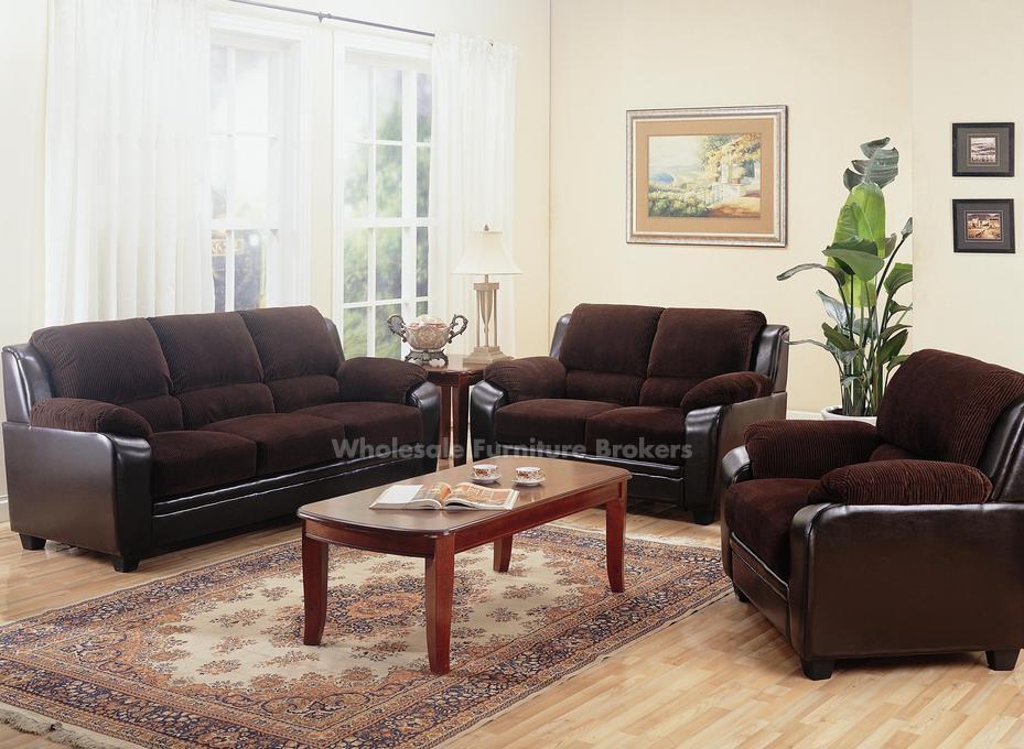 Coaster Monika Chocolate Corduroy Sofa Set | Gowfb With Brown Corduroy Sofas (View 9 of 20)