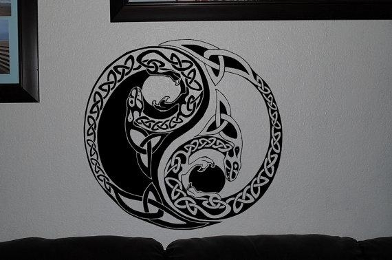 Cobra Yin Yang Design Art Pattern Wall Decals Vinyl Decals Within Yin Yang Wall Art (View 14 of 20)