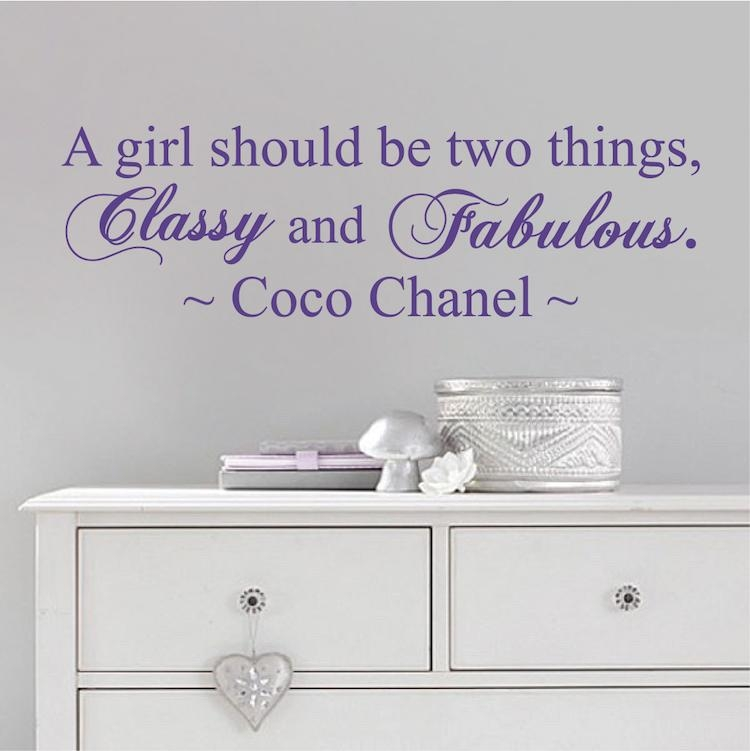 Coco Chanel Wall Quote Decal From Trendy Wall Designs For Coco Chanel Wall Decals (Image 9 of 20)