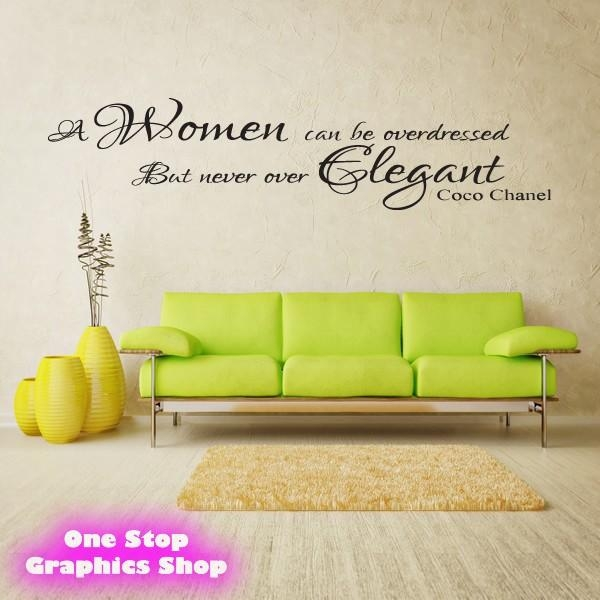 Coco Chanel Women Elegant Wall Art Quote Sticker – Lounge Bedroom Regarding Coco Chanel Wall Decals (Image 13 of 20)