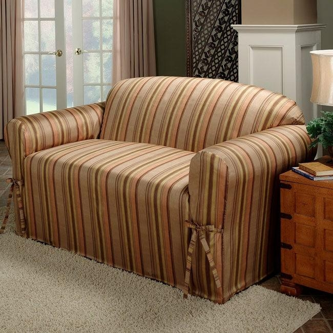Coco Stripe Faux Silk Sofa Slipcover – Free Shipping Today With Striped Sofa Slipcovers (View 6 of 20)