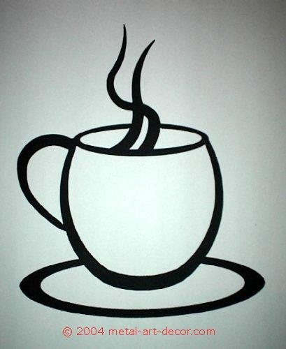 Coffee Cup Modern Wall Art Decor Silhouette With Regard To Metal Coffee Cup Wall Art (Image 8 of 20)