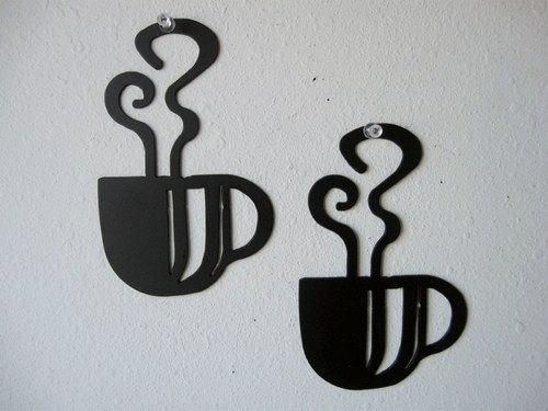 Coffee Cup Wall Art Duo Metal Wall Decoration In Metal Coffee Cup Wall Art (Image 9 of 20)