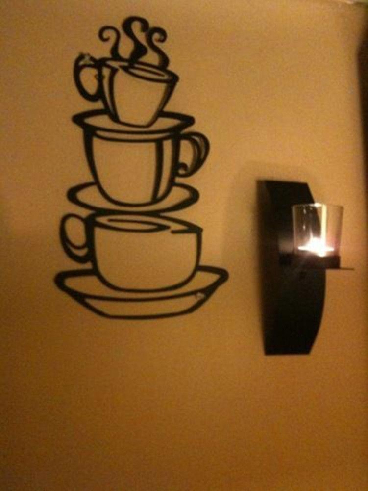 Coffee House Cup Java Silhouette Wall Art Metal Mug Kitchen Home Decor For Cafe Latte Kitchen Wall Art (Image 15 of 20)