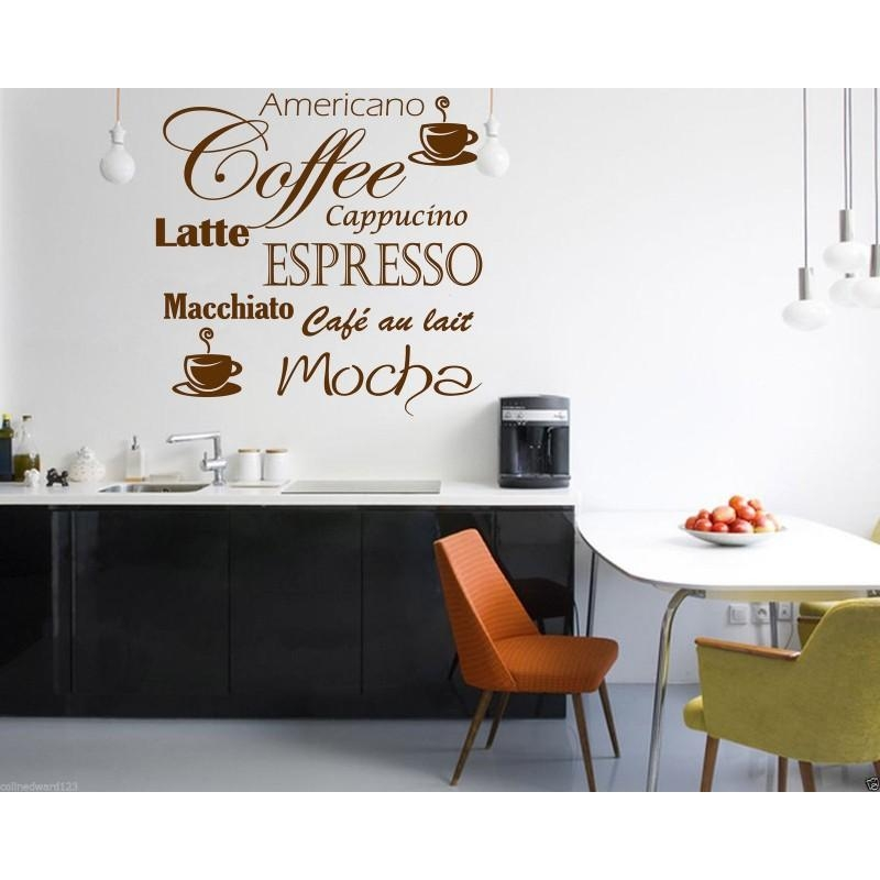 Coffee Latte Mocha Wall Art Decal For Kitchen Wall Decoration (Image 16 of 20)