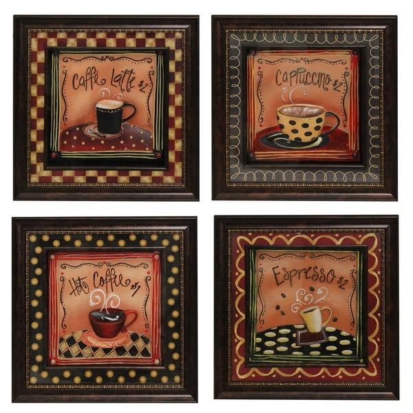 Coffee Time' Framed 3D Metal Wall Art Decor (Set Of 4) – Free In Metal Framed Wall Art (Image 7 of 20)