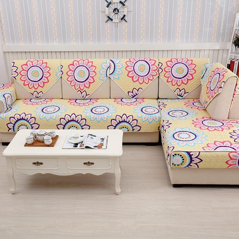 Colorful Cotton Dot Sleep Sofa Slip Covers Settee Sectional Couch With Slipcovers For Chaise Lounge Sofas (Image 7 of 20)