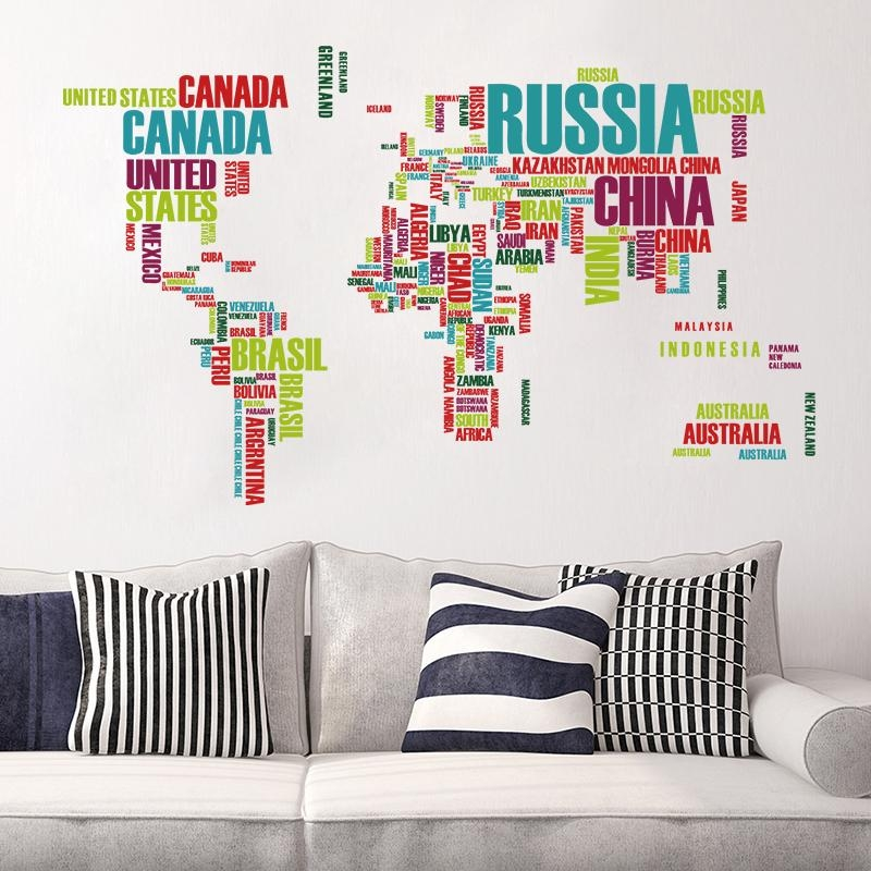 Colorful World Map Wall Sticker Home Decoration Vinyl Decal In Atlas Wall Art (View 7 of 20)