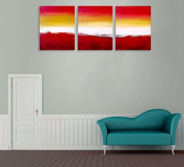 "Colour Slats"" Abstract Artists Triptych Art On Canvas Pertaining To Triptych Art For Sale (View 7 of 20)"