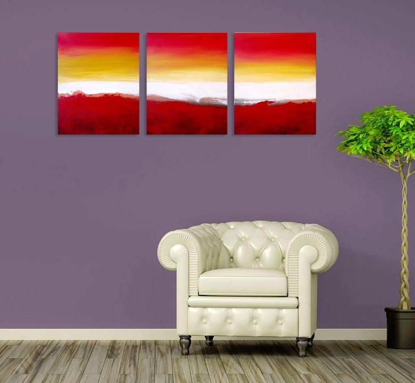 "Colour Slats"" Abstract Artists Triptych Art On Canvas Pertaining To Triptych Art For Sale (View 6 of 20)"
