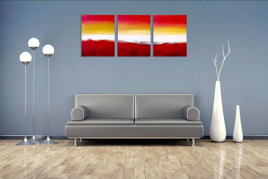 "Colour Slats"" Abstract Artists Triptych Art On Canvas Within Triptych Art For Sale (View 16 of 20)"