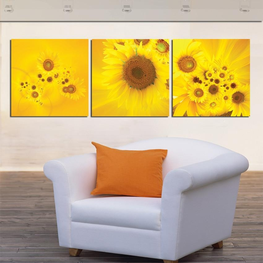 Compare Prices On 3 Piece Sunflower Wall Art  Online Shopping/buy Intended For Large Yellow Wall Art (Image 10 of 20)