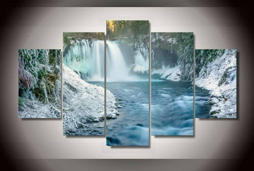 Compare Prices On 5 Piece Wall Art Landscape Waterfall  Online Within Waterfall Wall Art (Image 8 of 20)