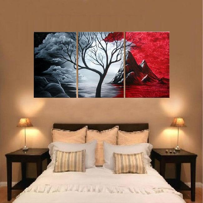 Compare Prices On Hand Painted 3 Piece Black White Red Art  Online Throughout 3 Piece Canvas Wall Art Sets (Image 12 of 20)