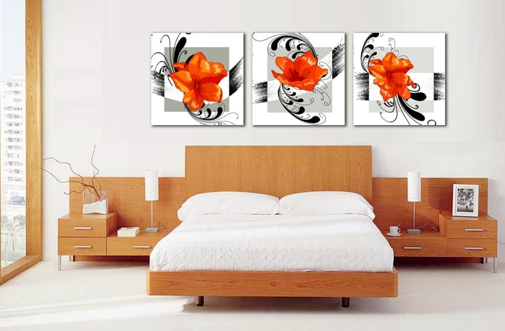 Compare Prices On Orange Flowers Pictures  Online Shopping/buy Low With 3 Piece Floral Canvas Wall Art (Image 11 of 20)
